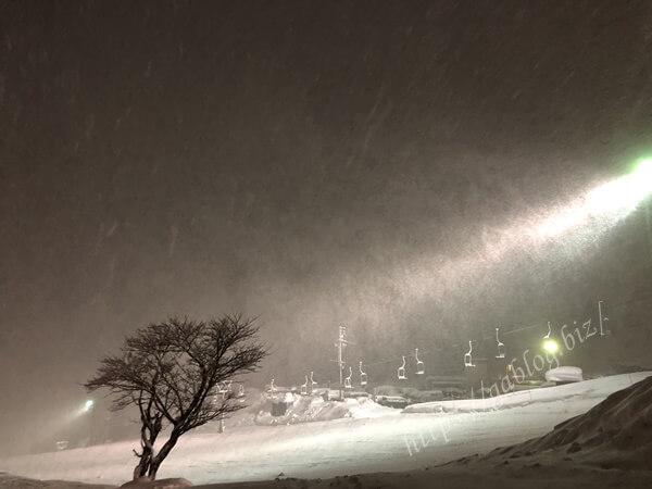 岩原スキー場 夜